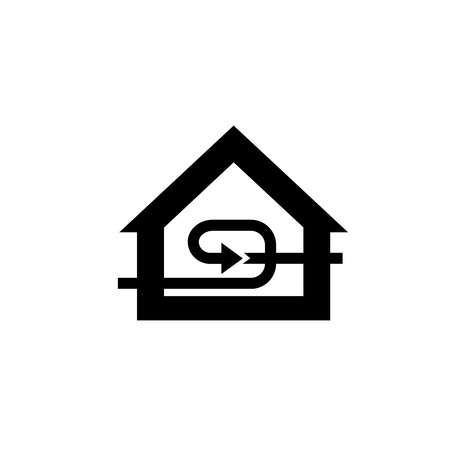 recuperation: Conceptual vector passive house recuperation forced airing icon and pictogram | modern flat design illustration and infographic concept black on white background