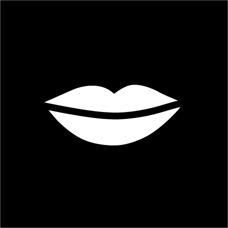 woman lips: Conceptual vector woman lips icon | modern flat design cosmetic and spa illustration and infographic concept white on black background