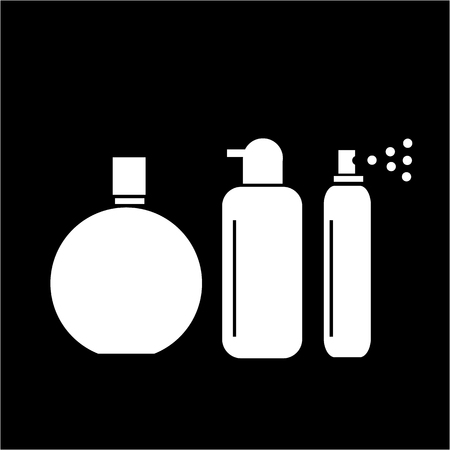 hairspray: Conceptual vector cosmetic bottles tubes and phials icons set | modern flat design cosmetic and spa illustration and infographic concept white on black background