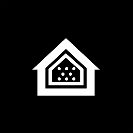 airtight: Conceptual vector passive house airtight icon and pictogram | modern flat design illustration and infographic concept white on black background