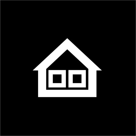 isolation: Conceptual vector passive house triple window isolation icon and pictogram | modern flat design illustration and infographic concept white on black background
