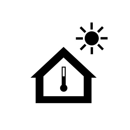 exchanger: Conceptual vector passive house in heat or summer icon and pictogram | modern flat design illustration and infographic concept black on white background