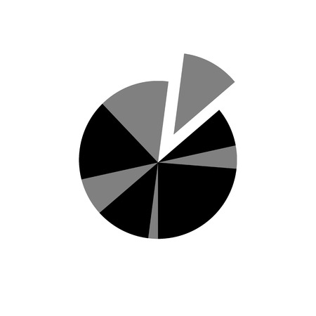 pie chart icon: Conceptual infographic basic pie chart icon | modern flat design illustration of infographics elements black on white background