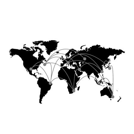 conceptual map: Conceptual infographic worldwide connection map chart | modern flat design illustration of infographics elements black on white background