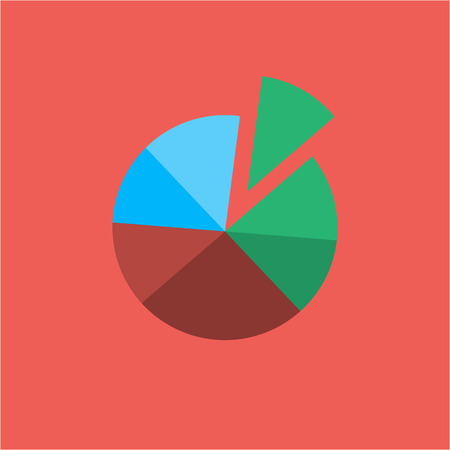 pie chart icon: Conceptual infographic basic pie chart icon | modern flat design illustration of infographics elements colorful on red background