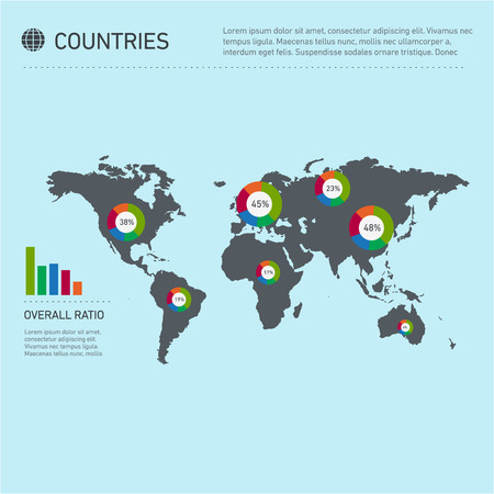 population growth: Conceptual infographic worldwide countries map chart | modern flat design illustration of infographics elements colorful on blue background