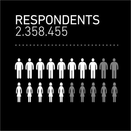 Tableau des répondants infographiques conceptuels | illustration moderne de conception plate d'éléments infographiques blanc sur fond noir