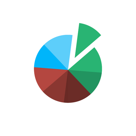 pie chart icon: Conceptual infographic basic pie chart icon | modern flat design illustration of infographics elements color on white background