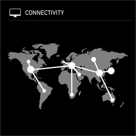 conceptual map: Conceptual infographic worldwide connectivity map chart | modern flat design illustration of infographics elements white on black background Vectores