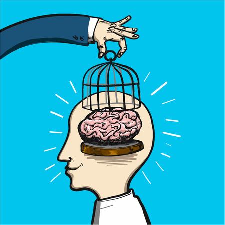de bevrijding en de vrijheid van de geest - conceptuele vector illustratie van de hand te tillen kooi in de hersenen