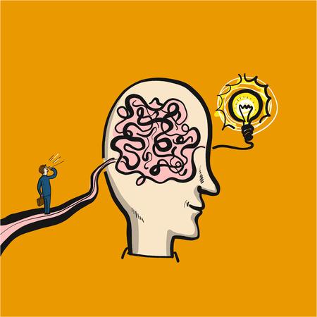 personalidad: Camino a la solución o el éxito a través de un laberinto en el cerebro - ilustración vectorial conceptual del hombre en el camino hacia su objetivo