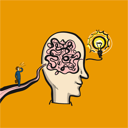 Path to solution or success through a maze in the brain - conceptual vector illustration of man on the way to his goal Illustration