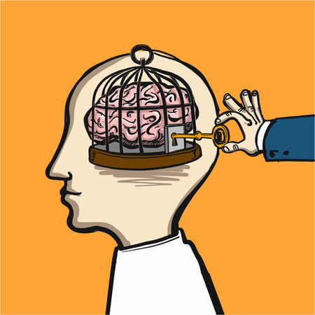 opening mind - conceptual vector illustration of cage in head with brain inside and hand opening it with key Çizim