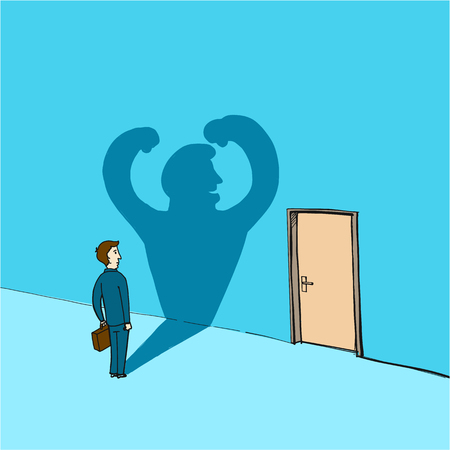 courage: self confidence and courage  - conceptual vector illustration of man standing in front of the door
