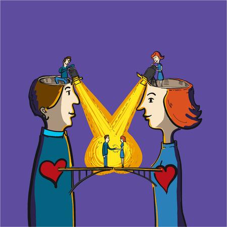 ser humano: la empatía y la comprensión entre el ser humano - ilustración vectorial conceptual de puente entre el corazón del hombre y de la mujer Vectores
