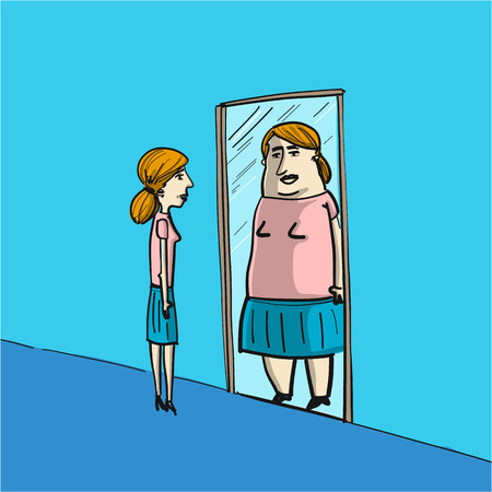 personality development: distorted self image - conceptual vector illustration of skinny woman in front of mirror see fat image of her self