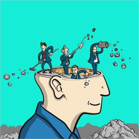 brain cleaning - conceptual vector illustration of to tidy up in head