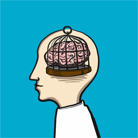 untangling the confusion in the brain - conceptual vector illustration Ilustracja