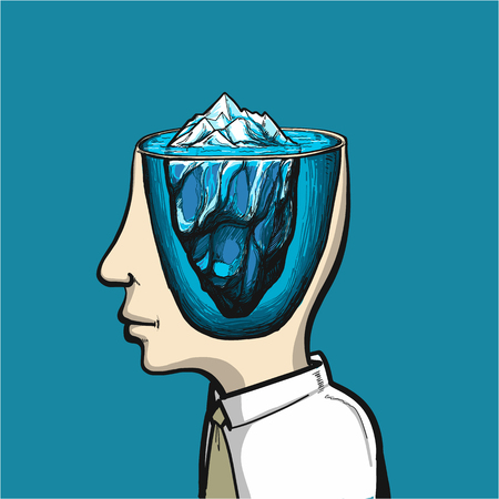 Glacier of conscious and subconscious in head - conceptual vector illustration of ice rock in brain