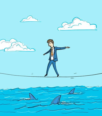 balancing: challenge - conceptual vector illustration of businessman balancing on rope over the water with sharks Illustration