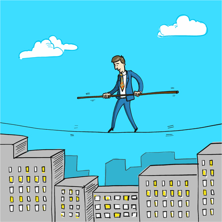 balancing: challenge - conceptual vector illustration of businessman balancing on rope over cityscape with office buildings Illustration