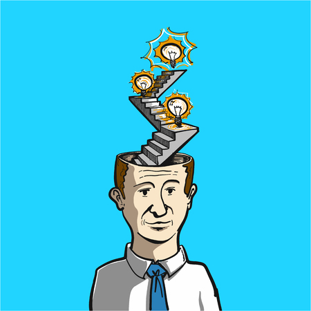 personality development: steps in brain to goal - conceptual vector illustration of personality growth