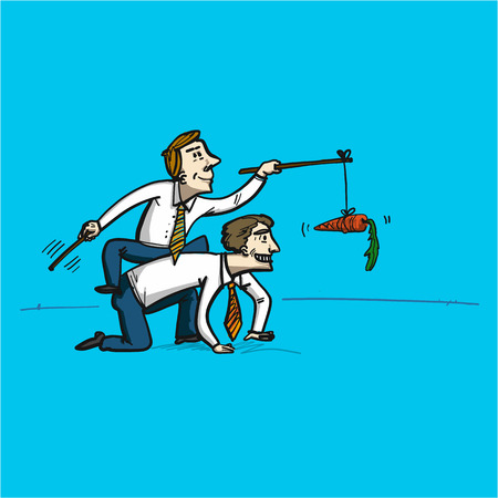 Motivation manipulation and reaching goal - conceptual vector illustration man riding another man chased with carrot at the end of the stick