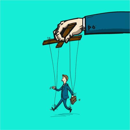 Uomo d'affari su corde come la marionetta - illustrazione della leadership o manipolazione