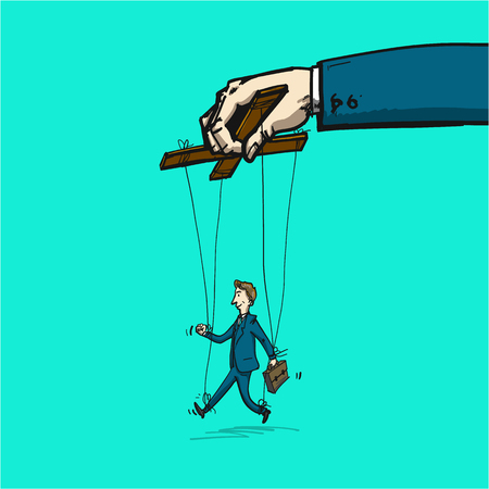 businessman on strings like marionette - conceptual vector illustration of leadership or manipulation