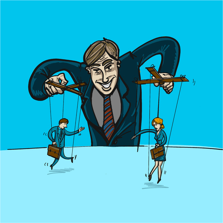 Homme d'affaires jouant avec l'homme et la femme sur des cordes comme la marionnette - illustration vectorielle conceptuelle du leadership ou de la manipulation