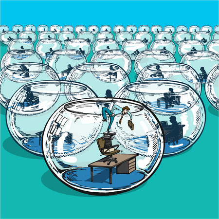 businessman escaping from fishbowl - conceptual vector illustration of breakthrough and courage to change stereotype and follow your dreams