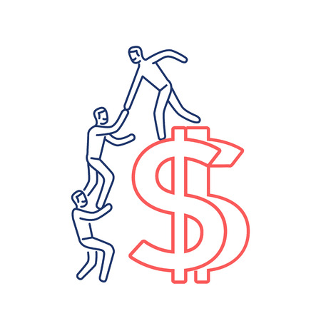 Vector business icon of team help cooperation climbing on dolar sign | modern flat design linear concept illustration and infographic red and blue on white background
