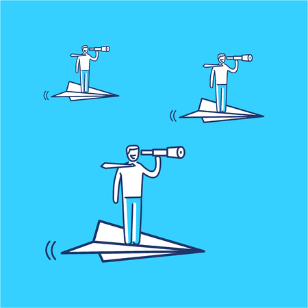business direction: Vector business icon of paper airplane with businessman flying right direction | modern flat design linear concept illustration and infographic on blue background Illustration
