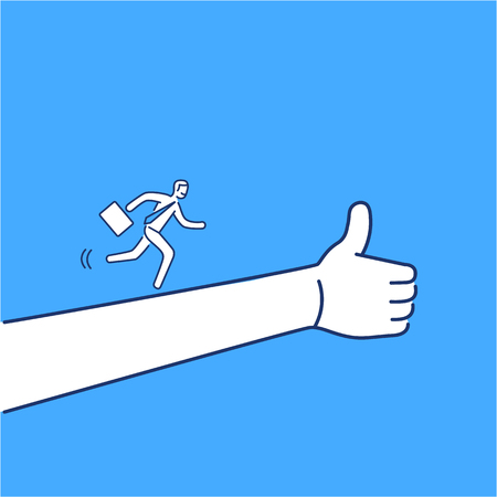 Vector business icon of businessman running to success | modern flat design linear concept illustration and infographic on blue background