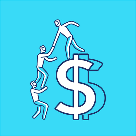 Vector business icon of team help cooperation climbing on dolar sign | modern flat design linear concept illustration and infographic white on blue background