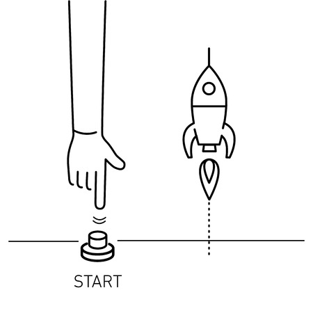 Beginnen. Vector bedrijf illustratie van de hand duwen start knop en raket | modern vlak ontwerp lineair concept icoon en infographic rood en blauw op witte achtergrond Stockfoto - 75143525