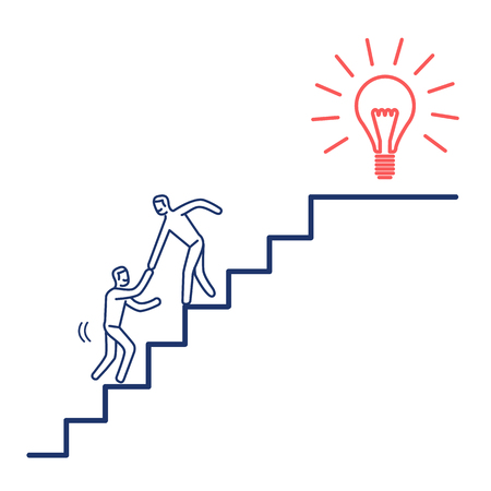Helping hand to success. Vector business illustration of businessman collaboration on stairs to goal | modern flat design linear concept icon and infographic red and blue on white background