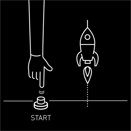off balance: Start up. Vector business illustration of hand pushing start button and rocket | modern flat design linear concept icon and infographic white on black background