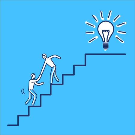 Ayudando al éxito. Vector ilustración de negocios de la colaboración de negocios en las escaleras a la meta | diseño plano moderno icono de concepto lineal e infográfico sobre fondo azul