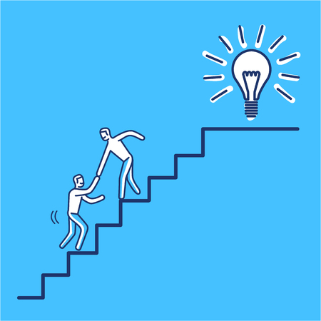 Helping hand to success. Vector business illustration of businessman collaboration on stairs to goal | modern flat design linear concept icon and infographic on blue background