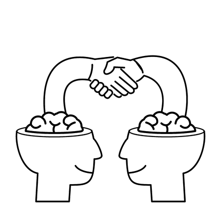 Cooperation. Vector business illustration of handshake of two brains | modern flat design linear concept icon and infographic black on white background