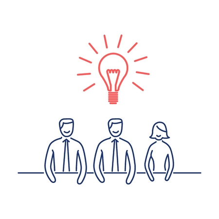Vector business icon of common idea on meeting | modern flat design linear concept illustration and infographic red and blue on white background