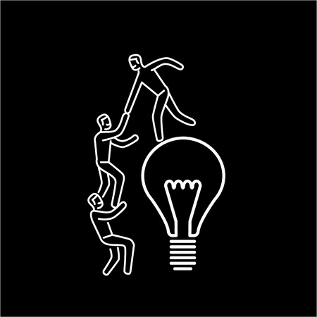 Cooperation and teamwork. Vector illustration of businessman helps to climb on bulb | modern flat design linear concept icon and infographic white on black background