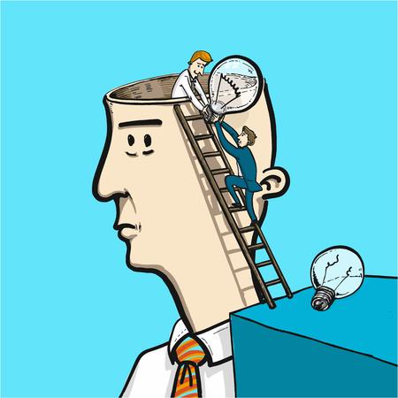 échanger des idées dans le cerveau - illustration vectorielle conceptuel de deux homme changer ampoule dans la tête Vecteurs