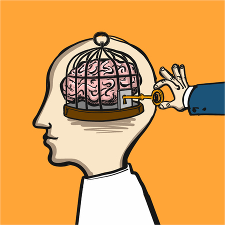 opening mind - conceptual vector illustration of cage in head with brain inside and hand opening it with key Ilustração