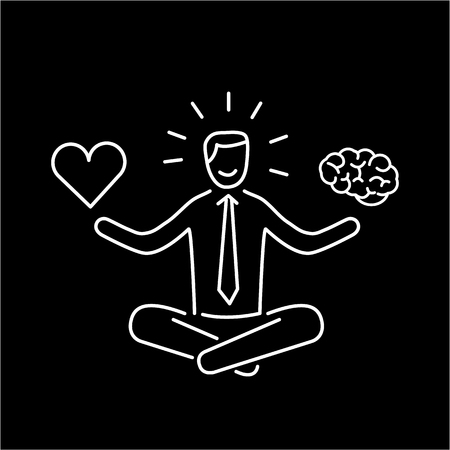 Balance. Vector illustration of meditating businessman balancing heart and brain | modern flat design linear concept icon and infographic white on black background