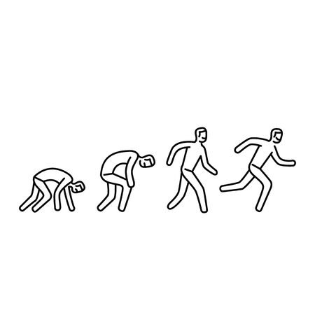 creep: Never give up. Vector illustration of businessman evolution from crawling to running forward | modern flat design linear concept icon and infographic black on white background