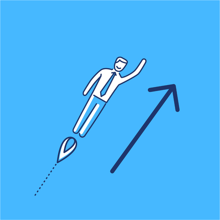 Vector business icon of businessman flying up | modern flat design linear concept illustration and infographic on blue background