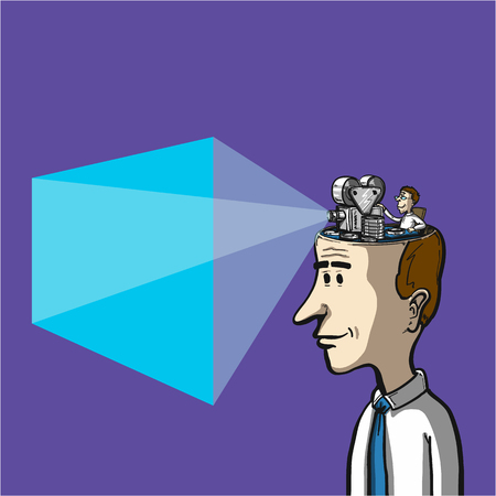 Movie playing in human head - conceptual vector illustration of projection and illusions in our brain
