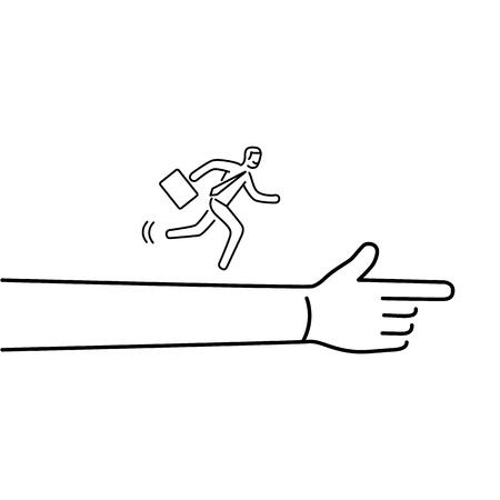 Andando avanti. Vector l'illustrazione dell'uomo d'affari che corre allo scopo sulla mostra della mano   icona di concetto lineare moderno design piatto e nero infographic su priorità bassa bianca